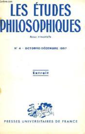 Les Etudes Philosophiques, Revue Trimestrielle, Extrait, N° 4, Oct.-Dec. 1957 - Couverture - Format classique