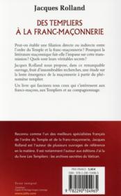 Des templiers à la franc-maçonnerie - 4ème de couverture - Format classique