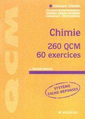 Chimie 260 Qcm 60 Exercices ; Concours D'Entree Masseurs-Kinesitherapeutes - Intérieur - Format classique