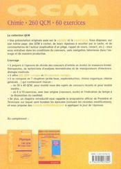 Chimie 260 Qcm 60 Exercices ; Concours D'Entree Masseurs-Kinesitherapeutes - 4ème de couverture - Format classique