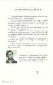 Pouvoir De L'Ingenieur (le) - 4ème de couverture - Format classique
