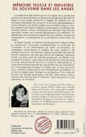 Memoire Textile Et Industrie Du Souvenir Dans Les Andes - 4ème de couverture - Format classique