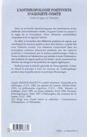 L'anthropologie positiviste d'Auguste Compte ; entre le signe et l'histoire - 4ème de couverture - Format classique