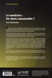 Le nucléaire, un choix raisonnable - 4ème de couverture - Format classique