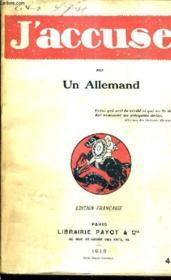 J'Accuse / Edition Francaise. - Couverture - Format classique
