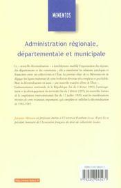 Administration régionale, départementale et municipale - 4ème de couverture - Format classique
