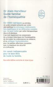 Guide familial de l'homéopathie - 4ème de couverture - Format classique