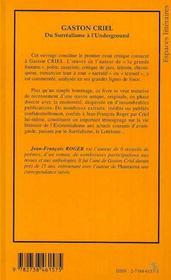 Gaston Criel : Du Surrealisme A L'Underground - 4ème de couverture - Format classique