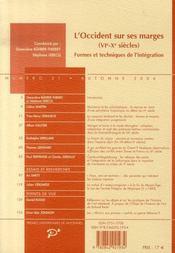 L'Occident sur ses marges VI-X siècles ; formes et techniques de l'intégration - 4ème de couverture - Format classique