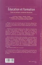 Éducation et formation ; essai sur quelques constantes éducatives - 4ème de couverture - Format classique