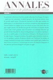 Les Annales D'Histoire Et De Philosophie Du Vivant, N 5, Hommage A Francois Dagognet - 4ème de couverture - Format classique