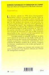 Sciences naturelles et formation de l'esprit. autour de la reforme de l'enseignement de 1902 : etud - 4ème de couverture - Format classique
