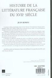 Histoire de la littérature française du XVII siècle - 4ème de couverture - Format classique