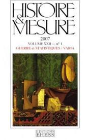 Histoire & Mesure T.22-1 ; Guerre Et Statistiques - Couverture - Format classique