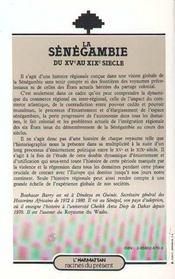 La Senegambie Du Xv Au Xix Siecle - 4ème de couverture - Format classique