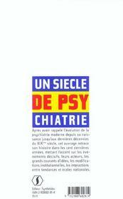Un Siecle De Psychiatrie - 4ème de couverture - Format classique