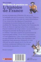 Mes Droles De Questions Sur L'Histoire De France - 4ème de couverture - Format classique