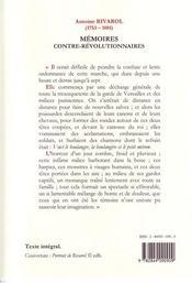 Mémoires contre-révolutionnaires - 4ème de couverture - Format classique