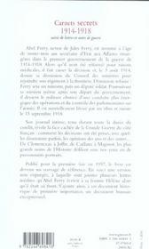 Carnets secrets (1914 - 1918) - 4ème de couverture - Format classique