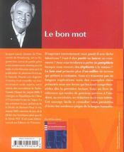 Le bon mot ; déjouer les pièges du français - 4ème de couverture - Format classique