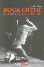 Rock critic ; chroniques de rock'n'roll (1967-1982) - Intérieur - Format classique