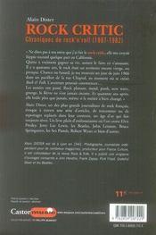 Rock critic ; chroniques de rock'n'roll (1967-1982) - 4ème de couverture - Format classique