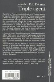 TRIPLE AGENT. Scénario - 4ème de couverture - Format classique