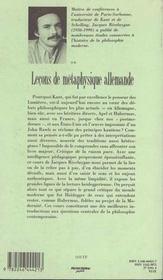 Leçons de métaphysique allemande t.2 - 4ème de couverture - Format classique