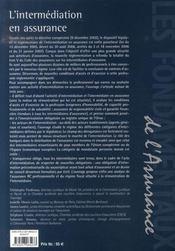 L'intermédiation en assurance - 4ème de couverture - Format classique