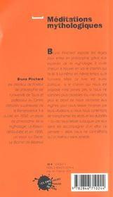Meditations mythologiques - 4ème de couverture - Format classique