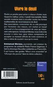 Vivre le deuil ; avec la Fondation de France - 4ème de couverture - Format classique