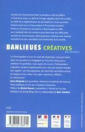 Banlieues créatives en france ; 150 actions dans les quartiers ; guide 2007 - 4ème de couverture - Format classique