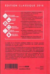 Code de la fonction publique, commenté (édition 2016) - 4ème de couverture - Format classique