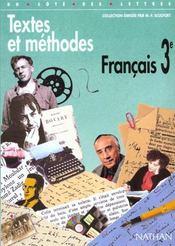Français 3e textes et méthodes élève - Intérieur - Format classique