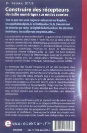 Construire des récepteurs de radio numérique sur ondes courtes - 4ème de couverture - Format classique