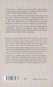 Conferences litter strasbourg, 2003 - 4ème de couverture - Format classique