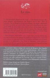 Le rire (13e édition) - 4ème de couverture - Format classique