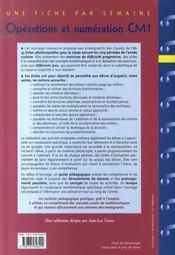 Opérations et numération ; CM1 - 4ème de couverture - Format classique