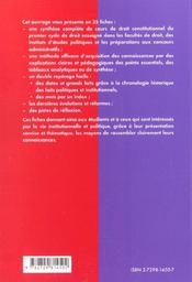 Le droit constitutionnel en fiches premier cycle universitaire iep concours administratifs - 4ème de couverture - Format classique