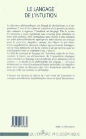 Le langage de l'intuition ; pour une épistemologie du singulier - Couverture - Format classique
