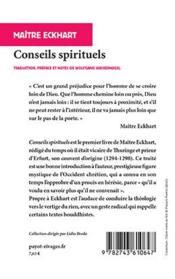 Conseils spirituels - 4ème de couverture - Format classique