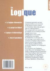 La Logique - 4ème de couverture - Format classique