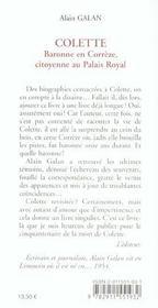 Colette ; baronne en Corrèze, citoyenne au Palais Royal - 4ème de couverture - Format classique