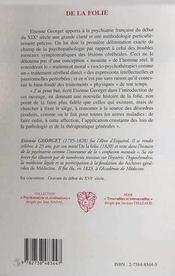 De La Folie ; Textes Choisis - 4ème de couverture - Format classique