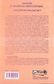 Identite Et Transition Democratique ; L'Exception Malgache - 4ème de couverture - Format classique