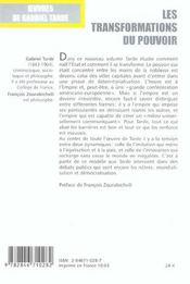 Oeuvres, t. 2, vol. 2, les transformations du pouvoir - 4ème de couverture - Format classique