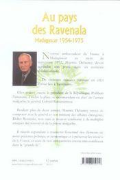 Au pays des ravenala ; madagascar, 1954-1975 - 4ème de couverture - Format classique