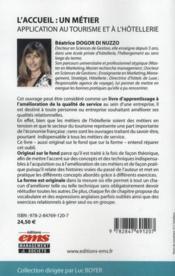 L'accueil : un métier ; application au tourisme et à l'hôtellerie - 4ème de couverture - Format classique