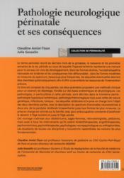 Pathologie neurologique périnatale et ses conséquences - 4ème de couverture - Format classique