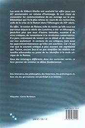 L'allemagne et la crise de la raison. hommage a gilbert merlio - 4ème de couverture - Format classique